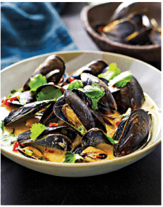Steamed Mussels with Tequila, Red Chili, Green Jalapeño, Coconut Milk ...