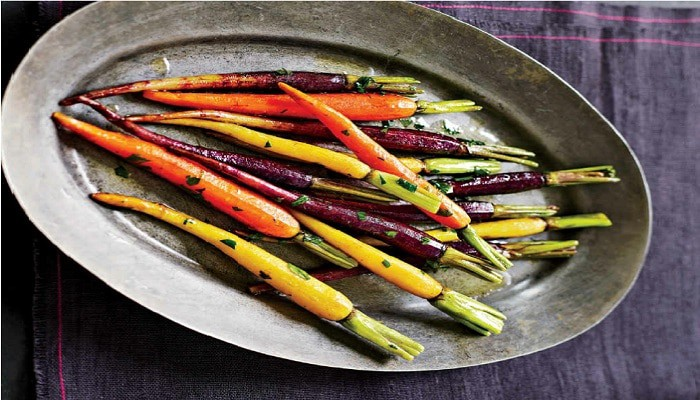 Rainbow Colored Carrots with Butter