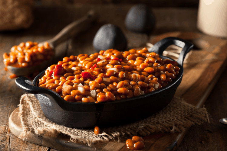 Homemade Baked Beans and Potato Cakes