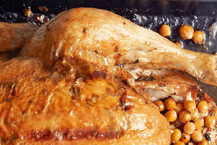 Roast Chicken with Chickpea Stuffing