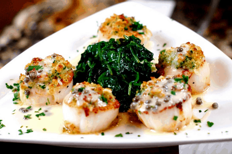Parmesan Crusted Sea Scallops, Sautéed Spinach with Lemon Caper Sauce